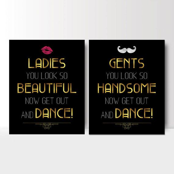 Art Deco Wedding bathroom signs - womens and mens restroom - his and hers bathroom  signs - Great Gatsby wedding - PRINTABLE 8x10 - 5x7