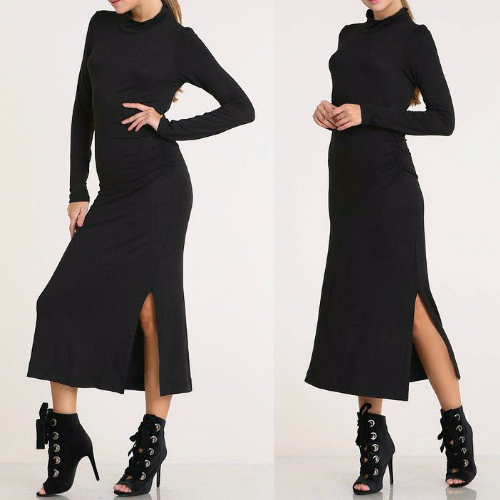 Loving people usa high mock neck long sleeve black fitted midi maxi