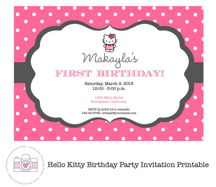 Hello Kitty Printable Invitation PERSONALIZED Birthday Party – Hello Kitty Printable Birthday Card