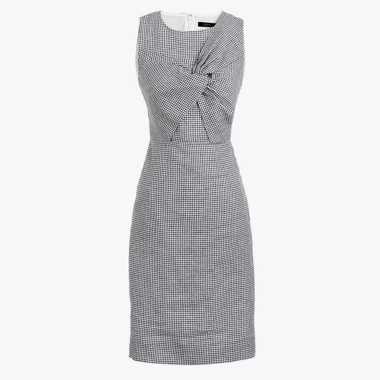 Petite drape knot windowpane dress in Irish linen | Products