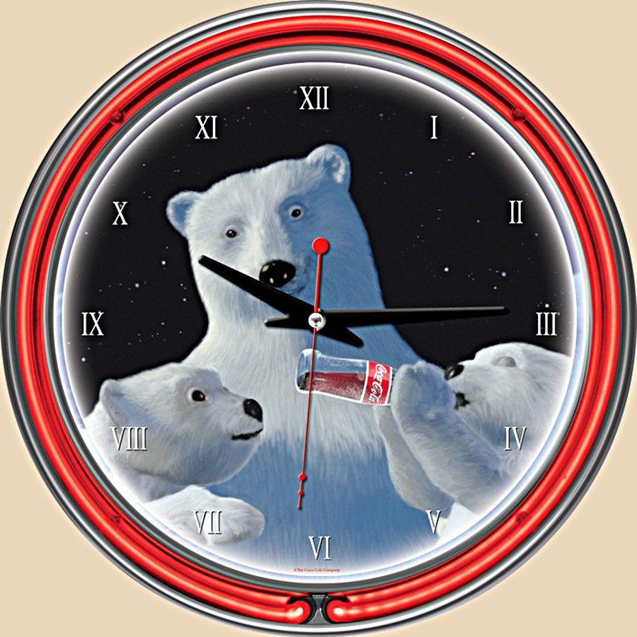 Unique Clock Works - Coca-Cola Neon Clock - Polar Bear with Cubs, $97.50 (http://uniqueclockworks.com/coca-cola-neon-clock-polar-bear-with-cubs/)