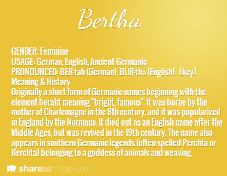Bertha gender feminine usage german english ancient germanic bertha gender feminine usage german english ancient germanic pronounced ber fandeluxe Gallery