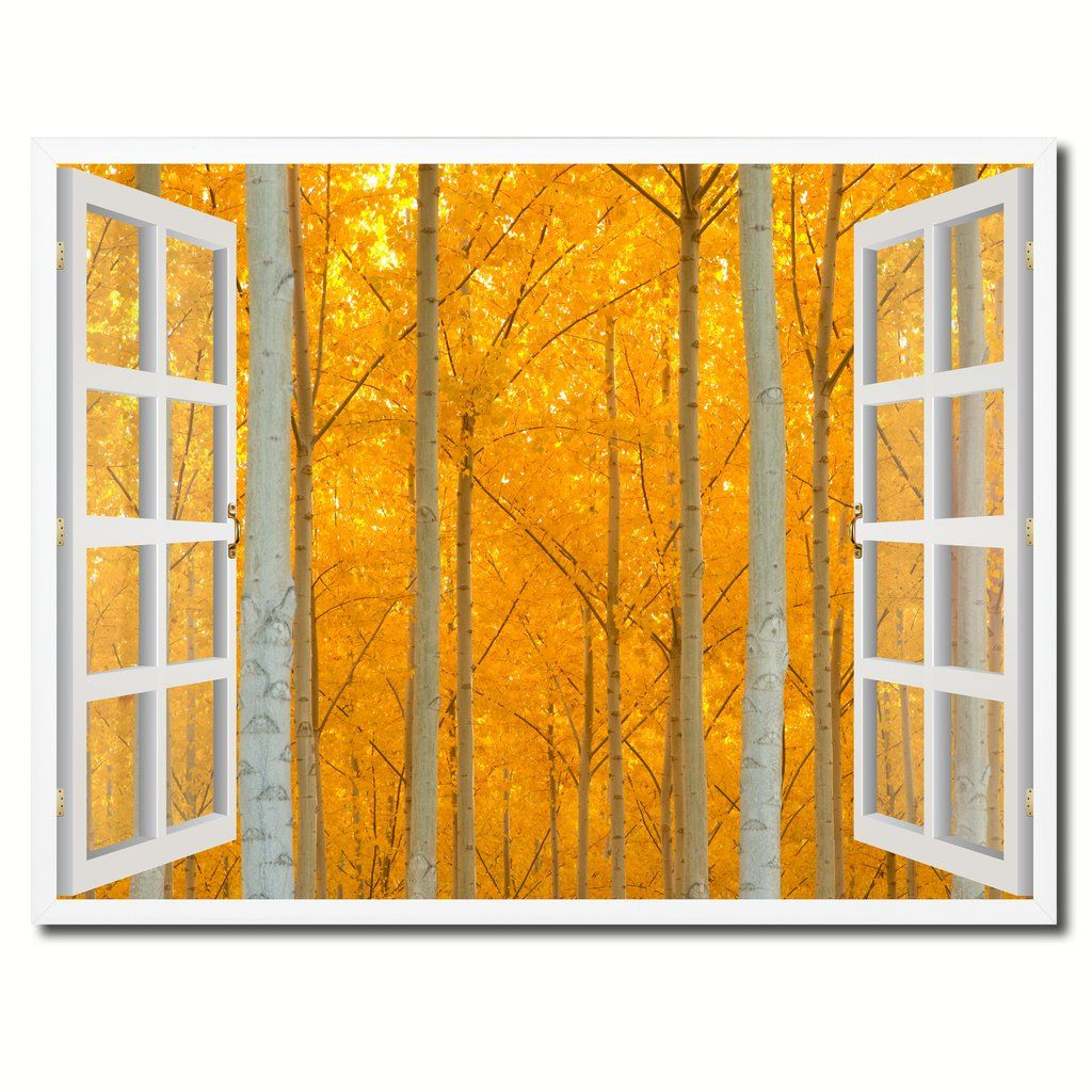 Autumn Yellow Trees Picture 3D French Window Canvas Print with Frame ...