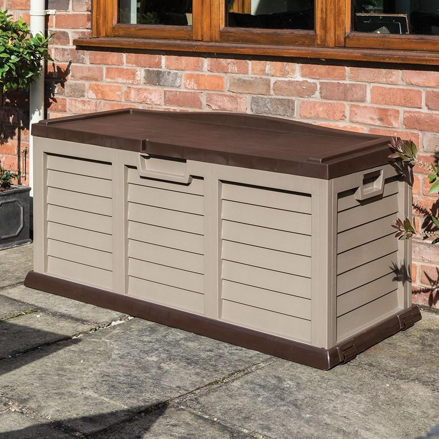 Swell Details About Mocha Plastic Storage Bench Box Chest Utility Machost Co Dining Chair Design Ideas Machostcouk
