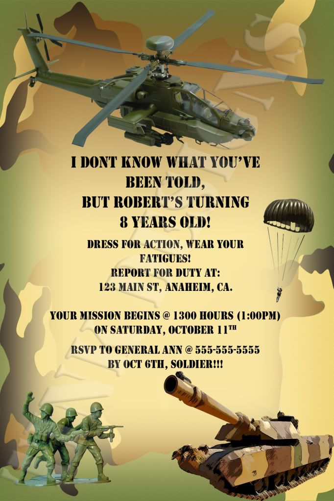 army party invitations Army Camo Camouflage Armed Forces Tank