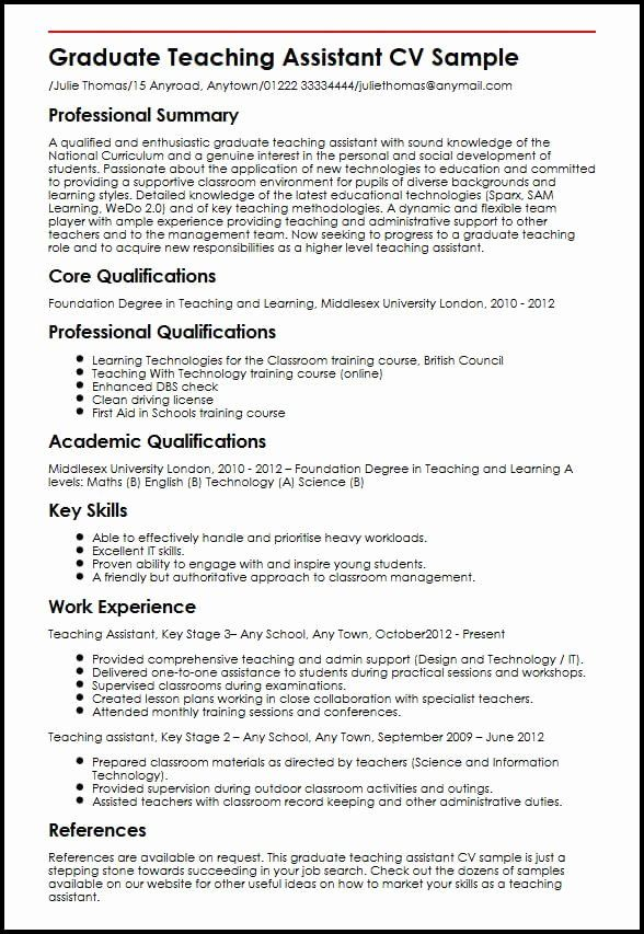 Graduate Research Assistant Resume Lovely Graduate Teaching Assistant Cv Sample Teacher Resume Examples Teaching Assistant Job Description Teaching Assistant