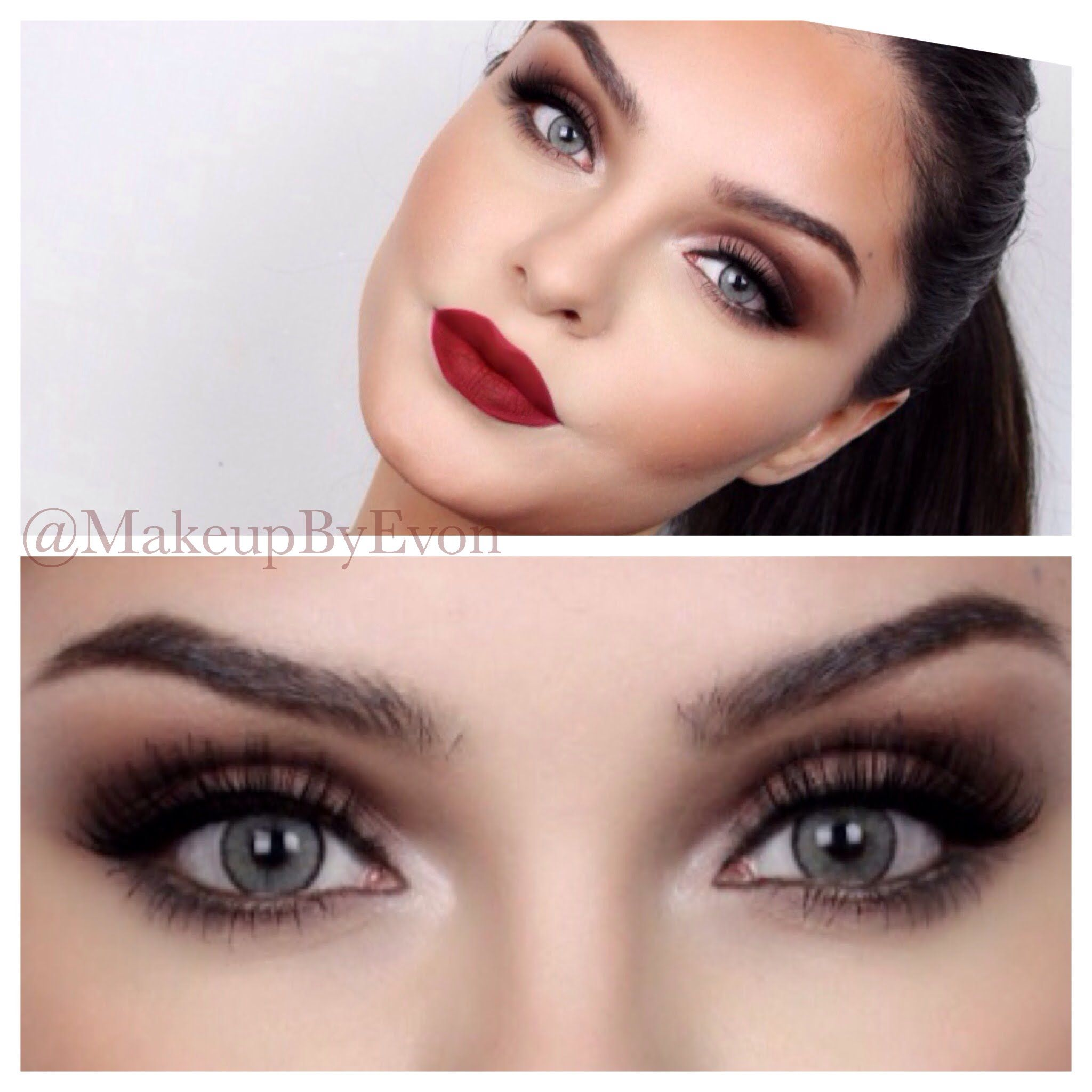 Kiss Out Of Makeup: Night Out Makeup Tutorial Burgundy Lips Brown Smokey Eyes