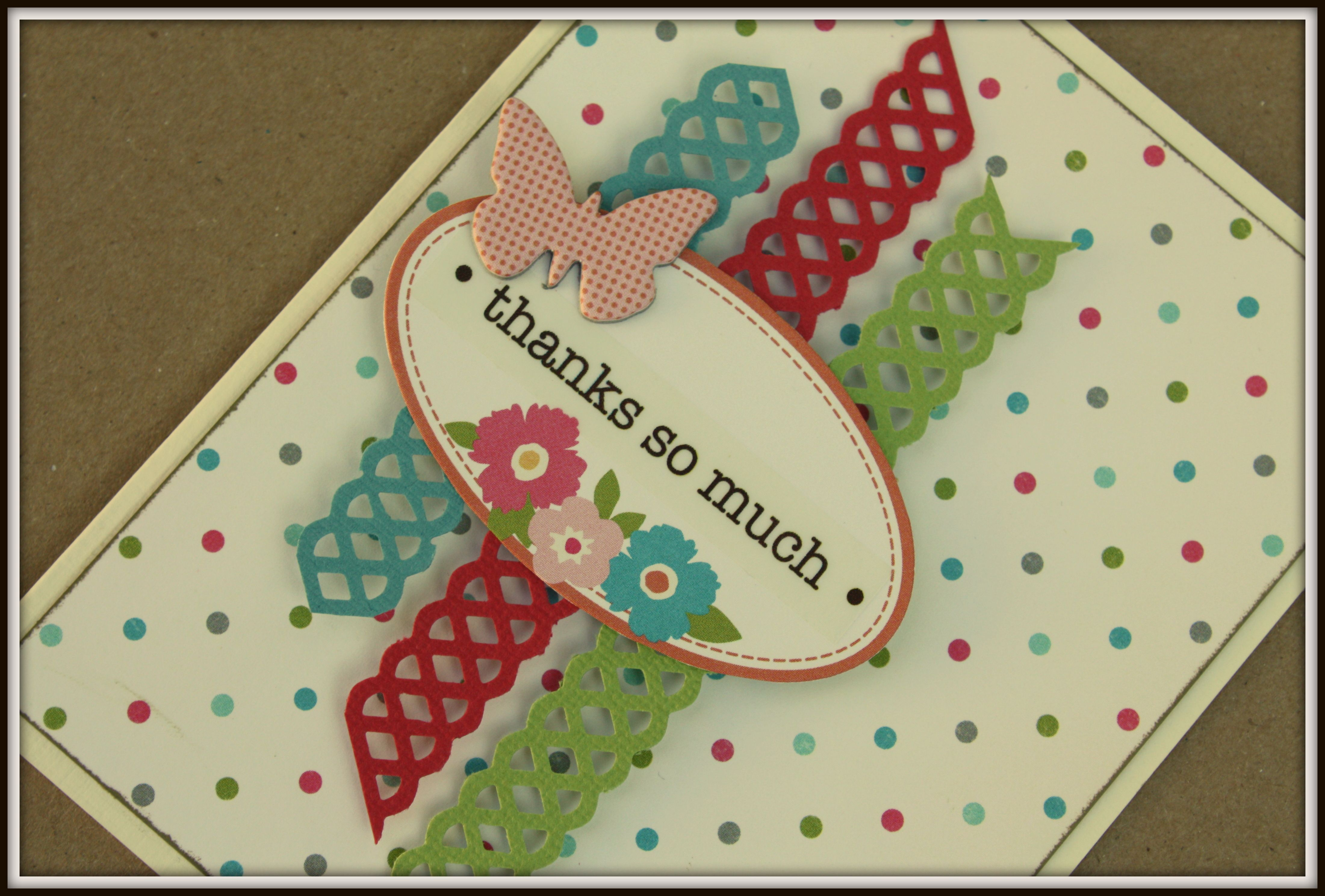 Thank You Card - Tonic Studios Simplicity Pattern Doily Strip Punch, October Afternoon Woodland Park, SRM Press Stickers