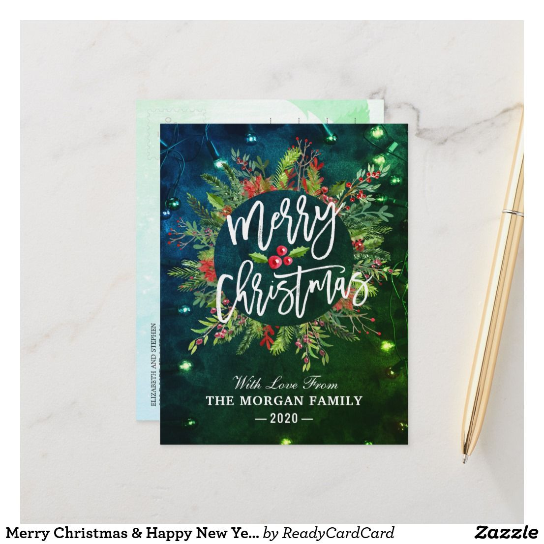 Best Christmas Cookies 2020 Merry Christmas & Happy New Year Wish Holly Wreath Holiday