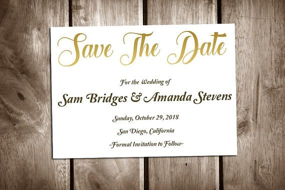Printable Save the Date Cards, Fancy Golden Letters, The Wedding of - Formal Invitation Letters