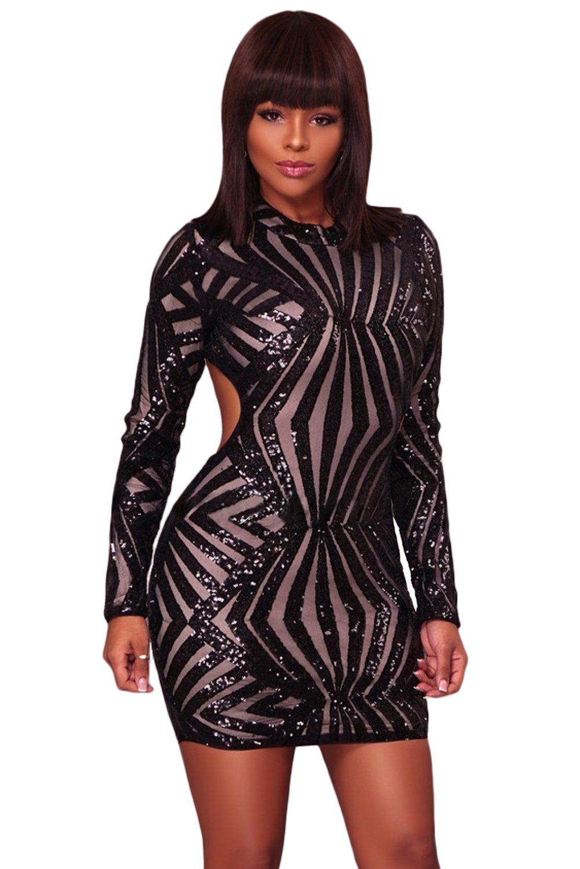 f4b77d092052 Sequin Mini Dress, Black Sequins, Sexy Dresses, Mini Dress With Sleeves,  Mini
