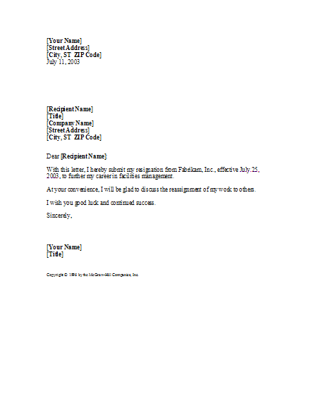 Basic yet professional sample Resignation Letter Template – Sample Resignation Letters