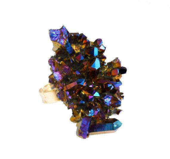 Titanium Flame Aura Druzy Quartz Crystal Cluster by toccajewelry.etsy.com  $65.00