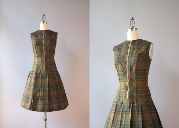 Vintage 60s Dress / 1960s Plaid Pleated Dress / by HolliePoint