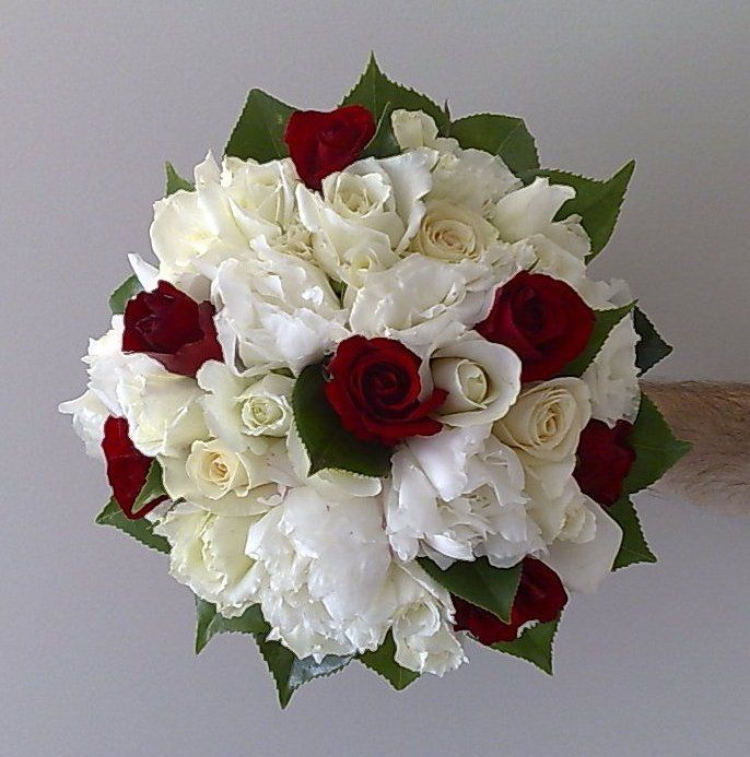 White And Red Wedding Flowers: White Peony Red Rose Bouquet