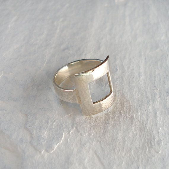 Square Silver Ring Open Square Ring Square Ring  size M