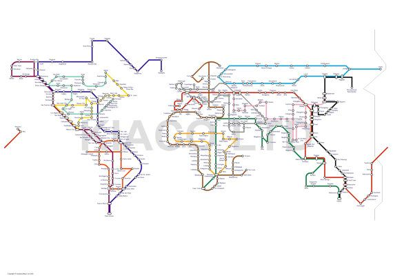 A subway tube metro map of the world a1 size 33in by kiacoltd a subway tube metro map of the world a1 size 33in by kiacoltd gumiabroncs Choice Image