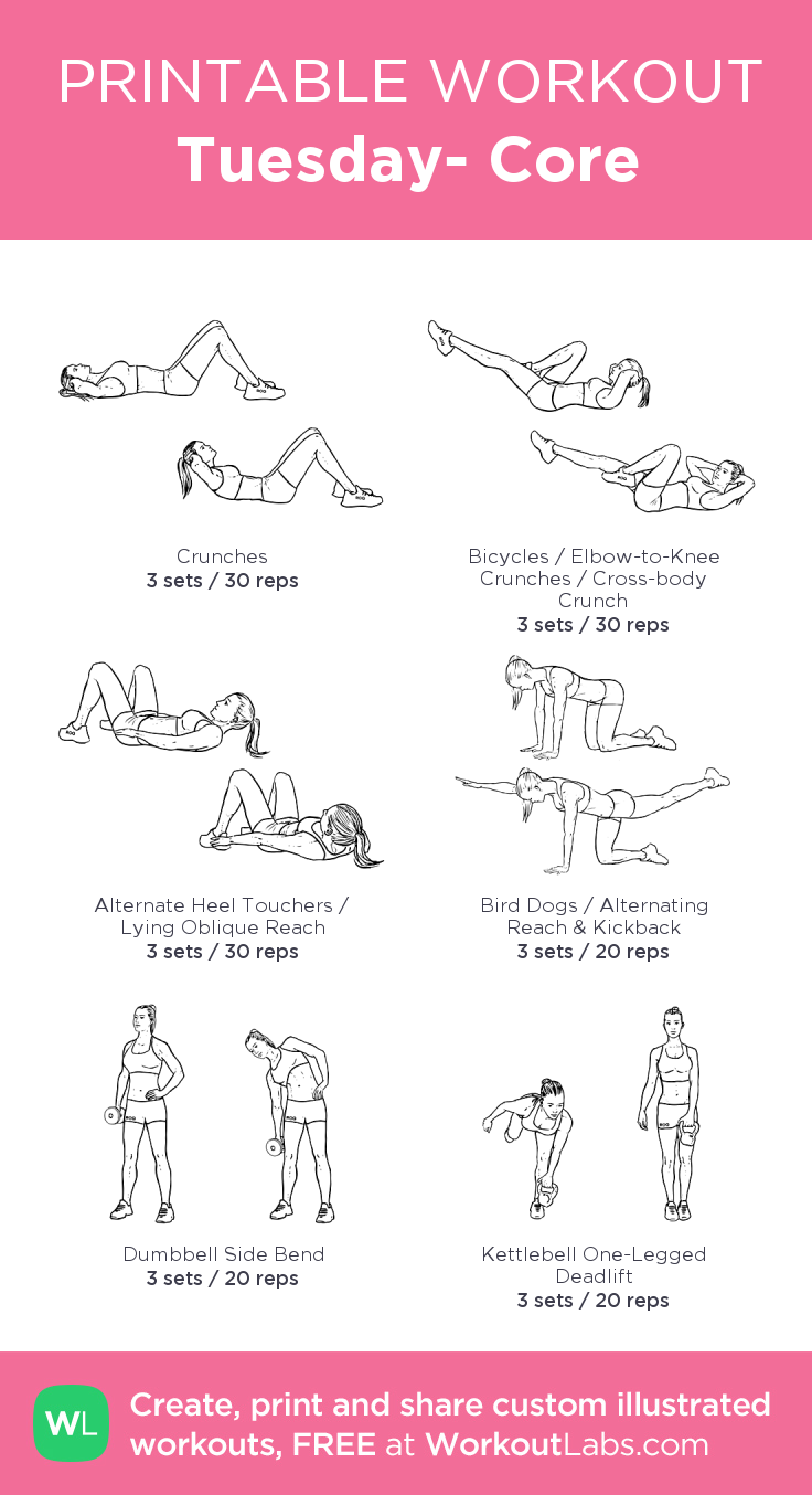 Tuesday Core my visual workout created at WorkoutLabs