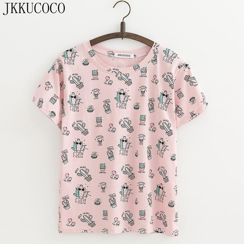 92fd3aae JKKUCOCO Cool Cactus Print tees Short Sleeve O-neck Casual T-shirt Women t  shirt Cotton Shirt Women tops tee 3 Color XS-XL