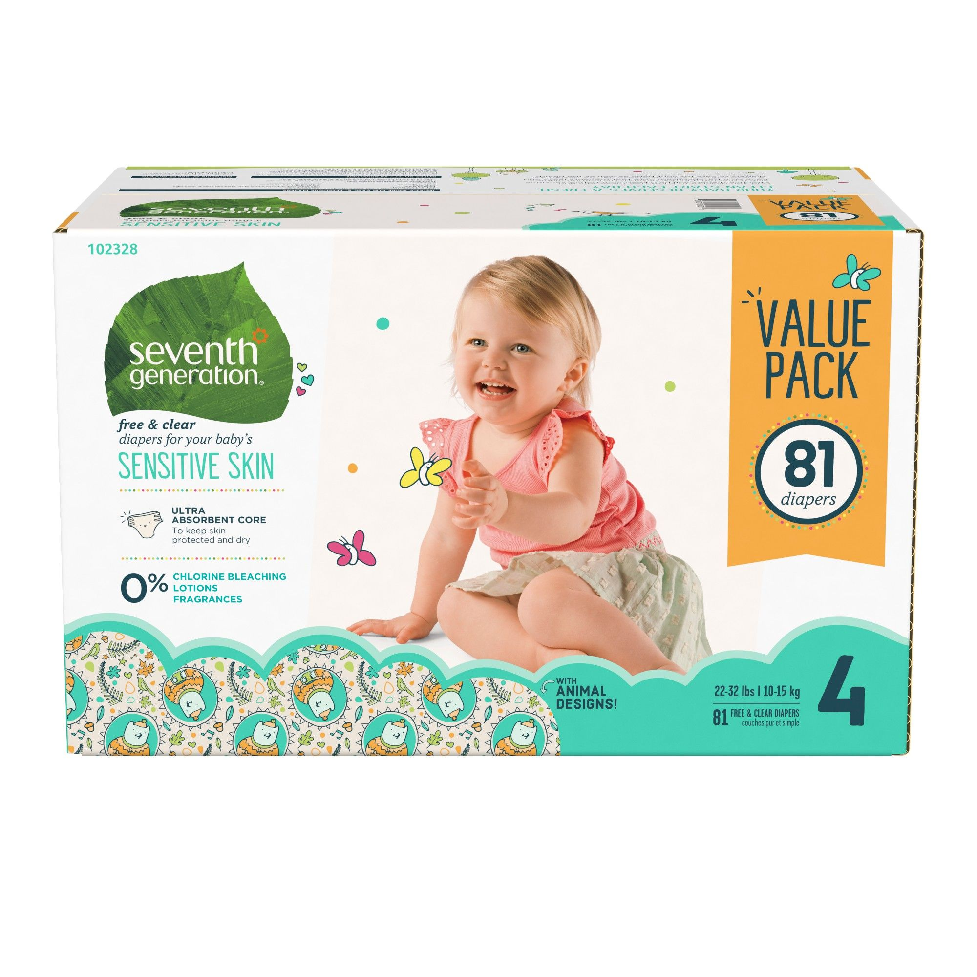 Newborn 1 pk Seventh Generation Free /& Clear Unbleached Diapers