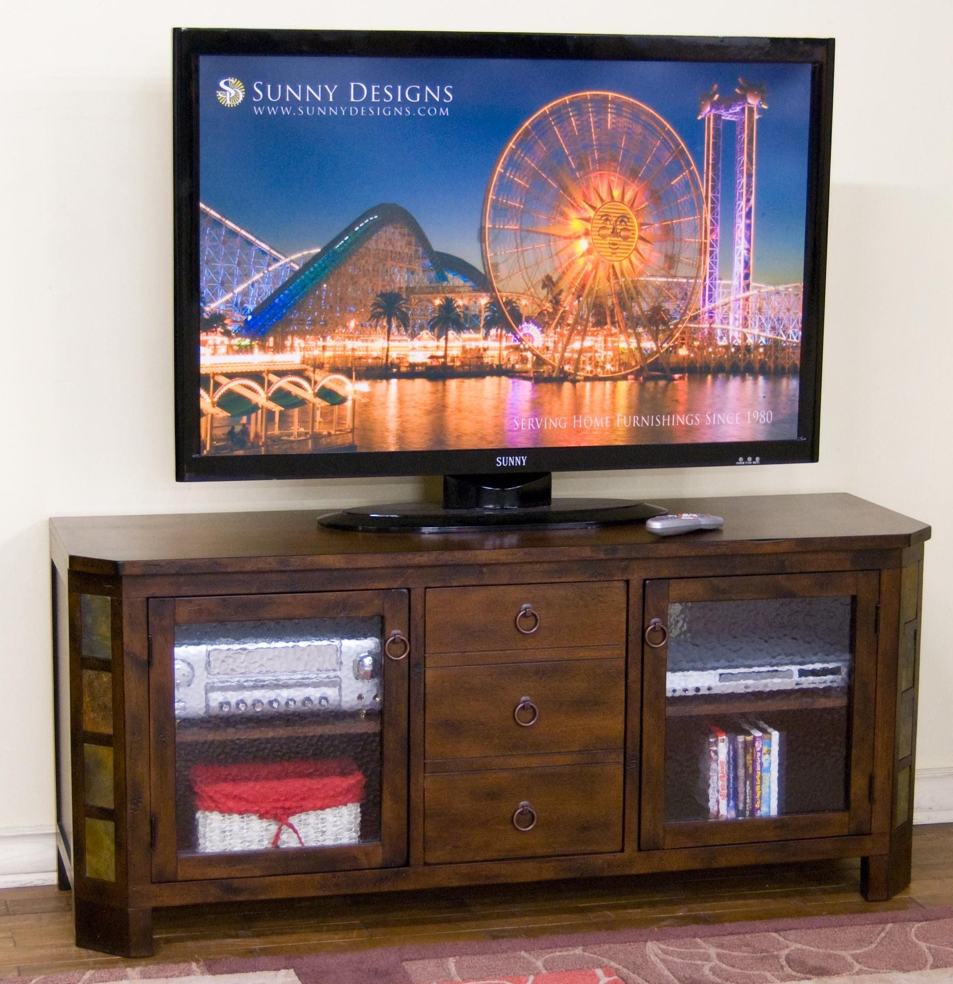 """Santa Fe 60"""" TV Console w/ Combo Drawer & Slate by Sunny"""