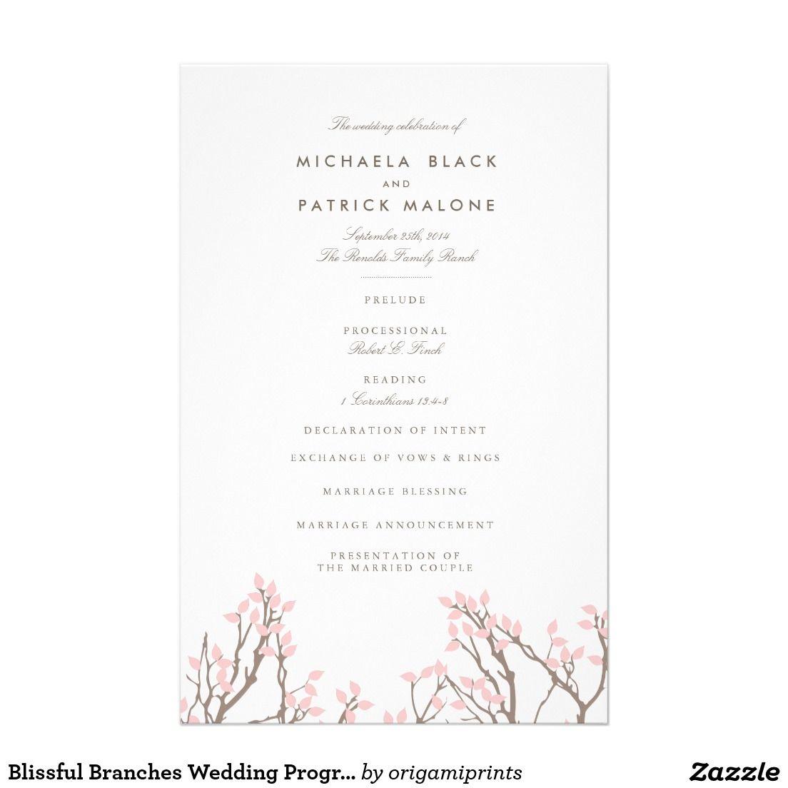 Blissful Branches Wedding Program 5.5\