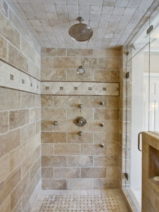 Despite This Being A Shower Entirely Made Of Tile I Love It Double Waterfall Show Bathroom Shower Design Traditional Bathroom Designs Bathroom Remodel Master