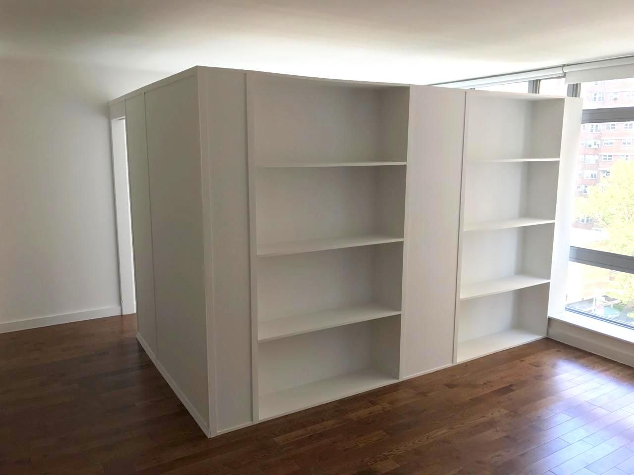 L shape storage bookcase partition call us for all your - Room divider with storage ...