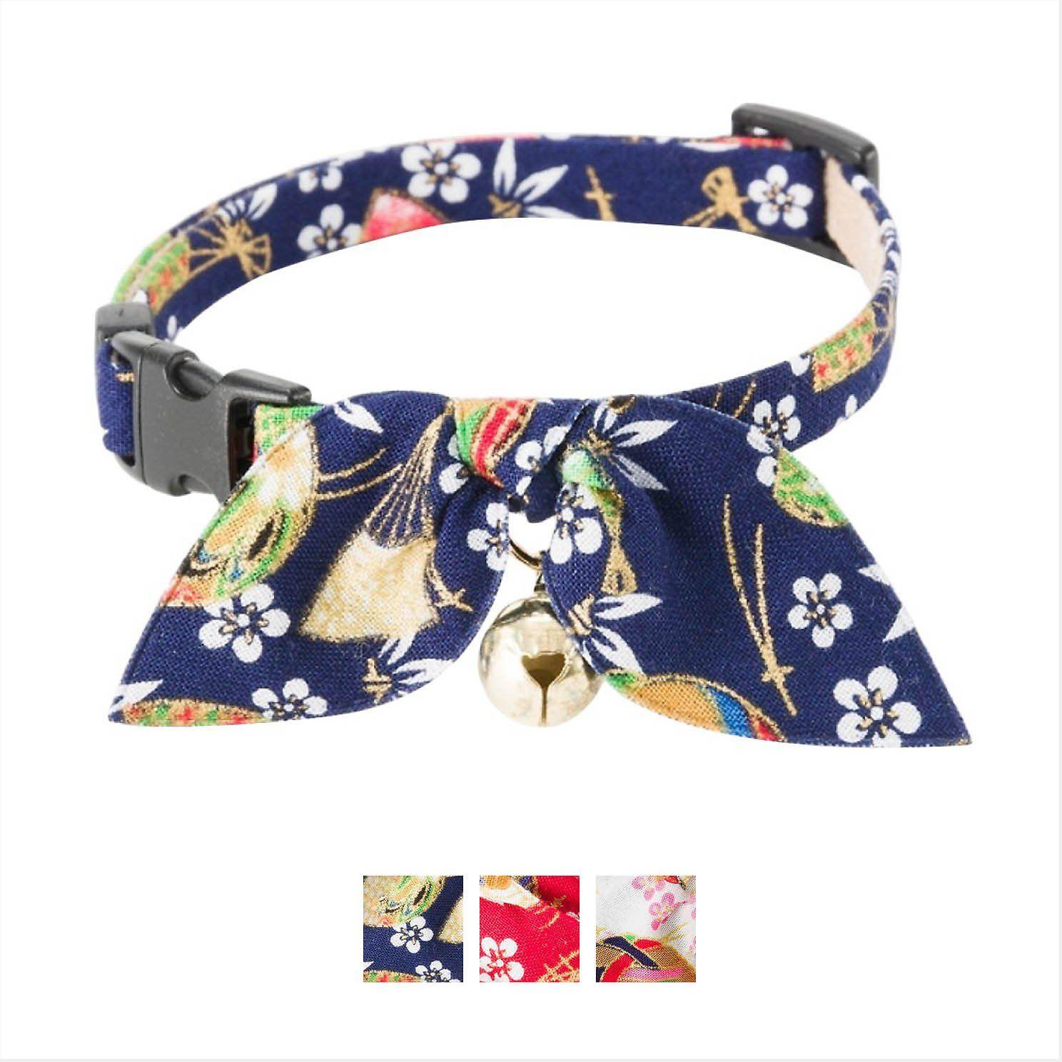 Necoichi Oribon Kimono Bow Tie Cat Collar, Blue Chewy