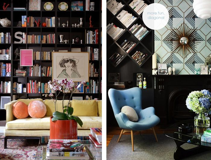Dark Bookshelves Interiors Trend