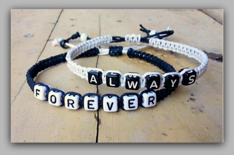 """Couples Bracelets """" Always Forever """" Bracelet His and Hers Boyfriend Girlfriend ( Black / White )  """"FREE SHIPPING"""""""