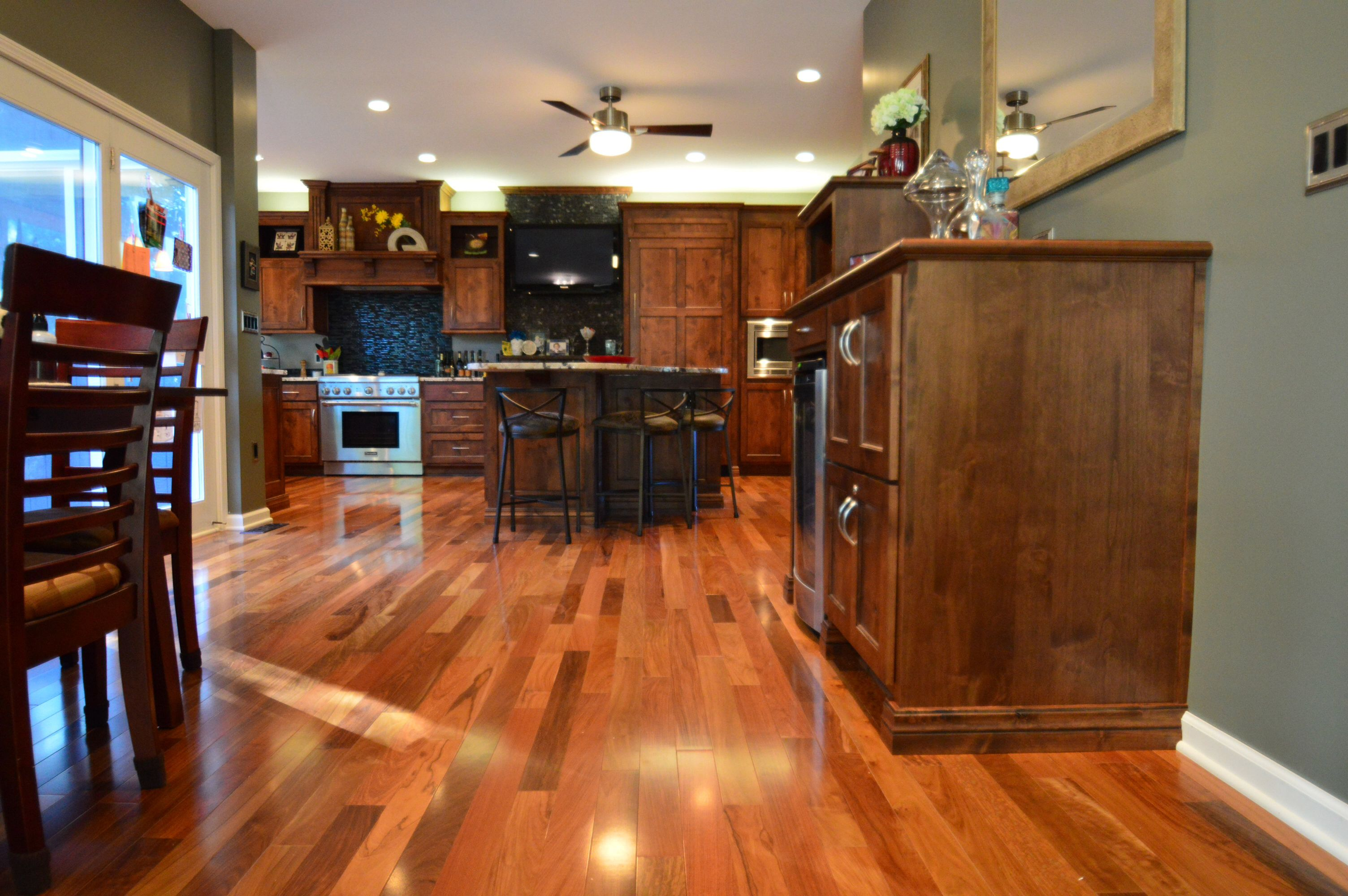 Brazilian Walnut Floors With Knotty Alder Cabinets