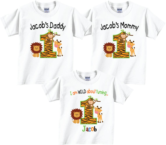 a6e80db8 Birthday Shirts for Mom and Dad and Birthday Child Family Birthday Set with  Jungle Tees