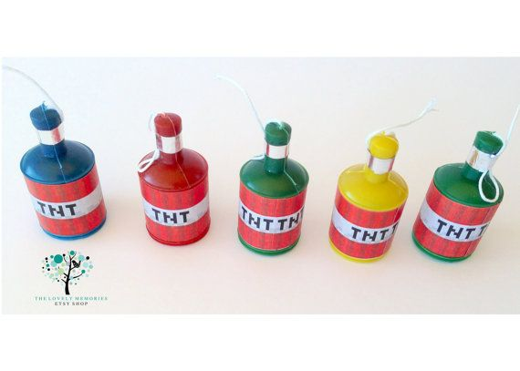 TNT Minecraft Birthday Theme Party Popper Labels - Printable File