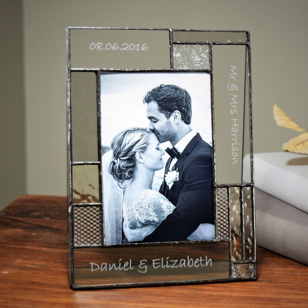 Makes A Great Wedding Gift With Three Areas To Place Information You Can Easily Add Names Date To Cre Glass Picture Frames Stained Glass Gifts Wedding Frames