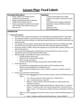 Food Labels Lesson Plan And Resources Food Labels How To Plan Facs Lesson Plans
