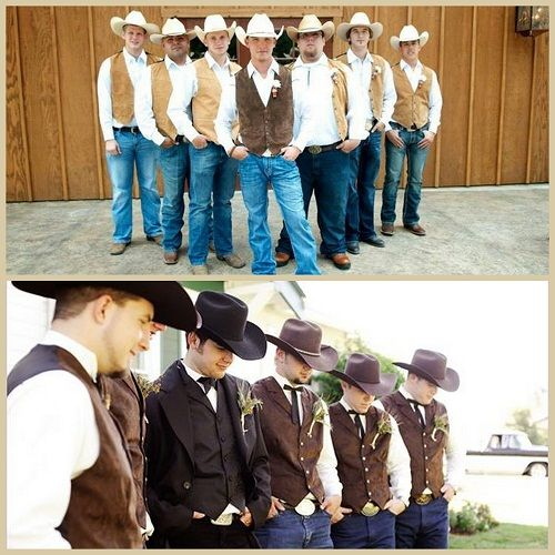 Cowboy Cowgirl Wedding Ideas: Rustic Wedding Groomsmen Attire