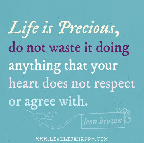 Life Is Precious Quotes Delectable Life Is Precious Do Not Waste It Doing Anything That Your Heart