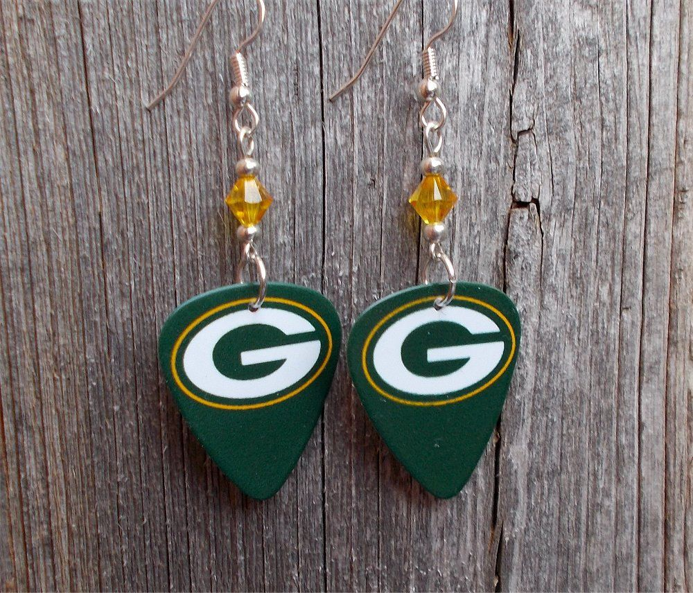 768a395a3 Green Bay Packers Guitar Picks with Yellow Crystals by ItsYourPickToo on  Etsy