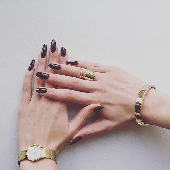 Dark Nails #nails #ownnails #long #dark #bordeaux #red #brown ...