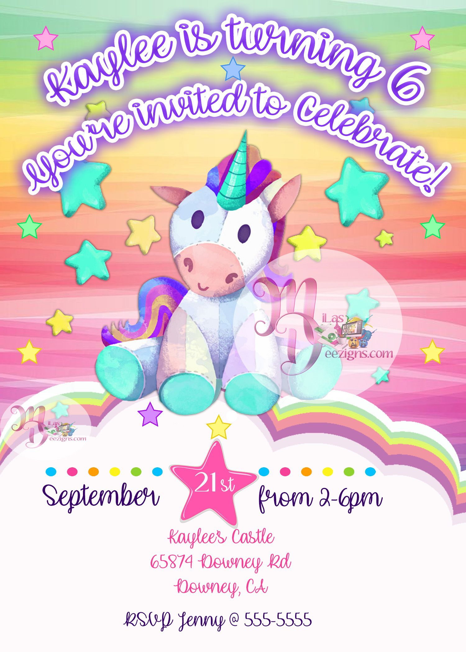 Unicorn Birthday Party Invitation Printable Rainbow Unicorn Birthday
