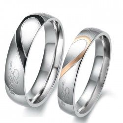 Love Theme Romantic Match Heart Titanium Steel Lover Rings Engravable (Price For a Pair) - USD $59.95