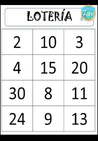 Materiales Zany Lotería De Números Del 1 Al 30 Loterias Para Niños Bingo De Numeros Numeros Para Niños