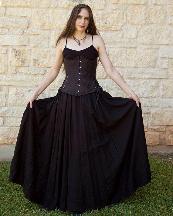 Black Linen Renaissance Skirt - Halloween Costume - Long Skirt - black skirt halloween costume ideas