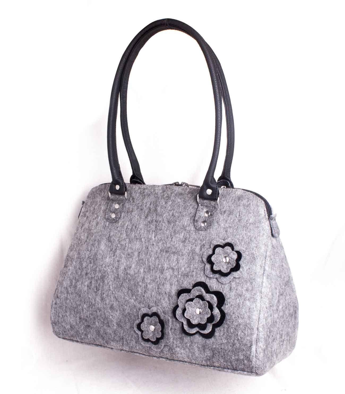 08a0b51703 Women s felt bag Ladies felt purse Felt travel purse Felted ladies bag  Flower design bag Felted side purse Grey handbag Floral felt bag by volaris  on Etsy