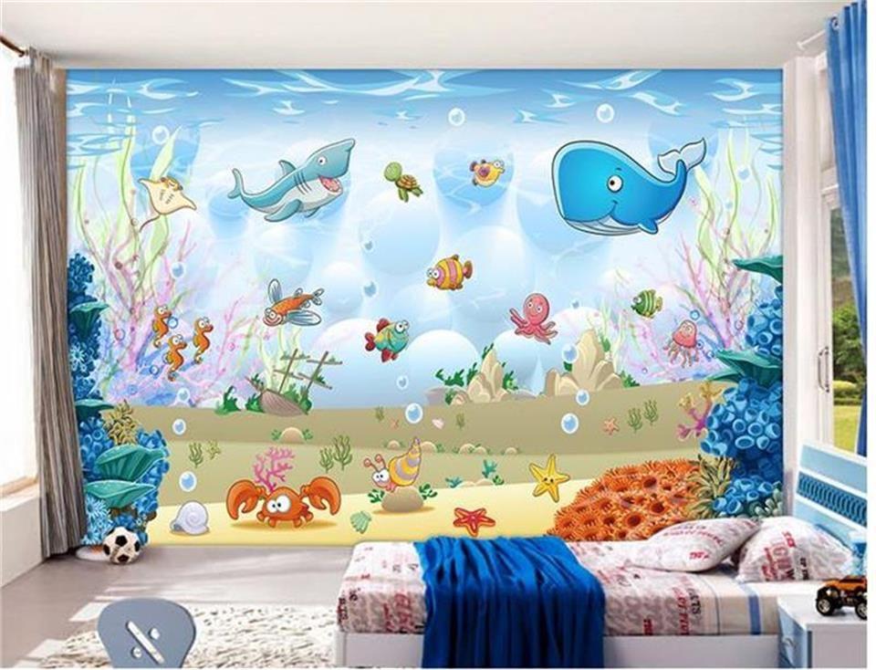 3d Wallpaper Custom Photo Wallpaper Kids Room Mural Cartoon Underwater World Animal 3d Painting Sof Kids Room Wallpaper Kids Room Murals Custom Photo Wallpaper
