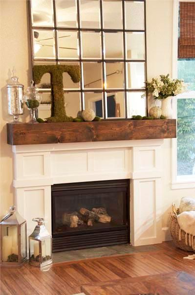 Mantel  Decorations : IDEAS & INSPIRATIONS :Spring Mantel- I kind of like this set up. The mirror is a little big for my taste.
