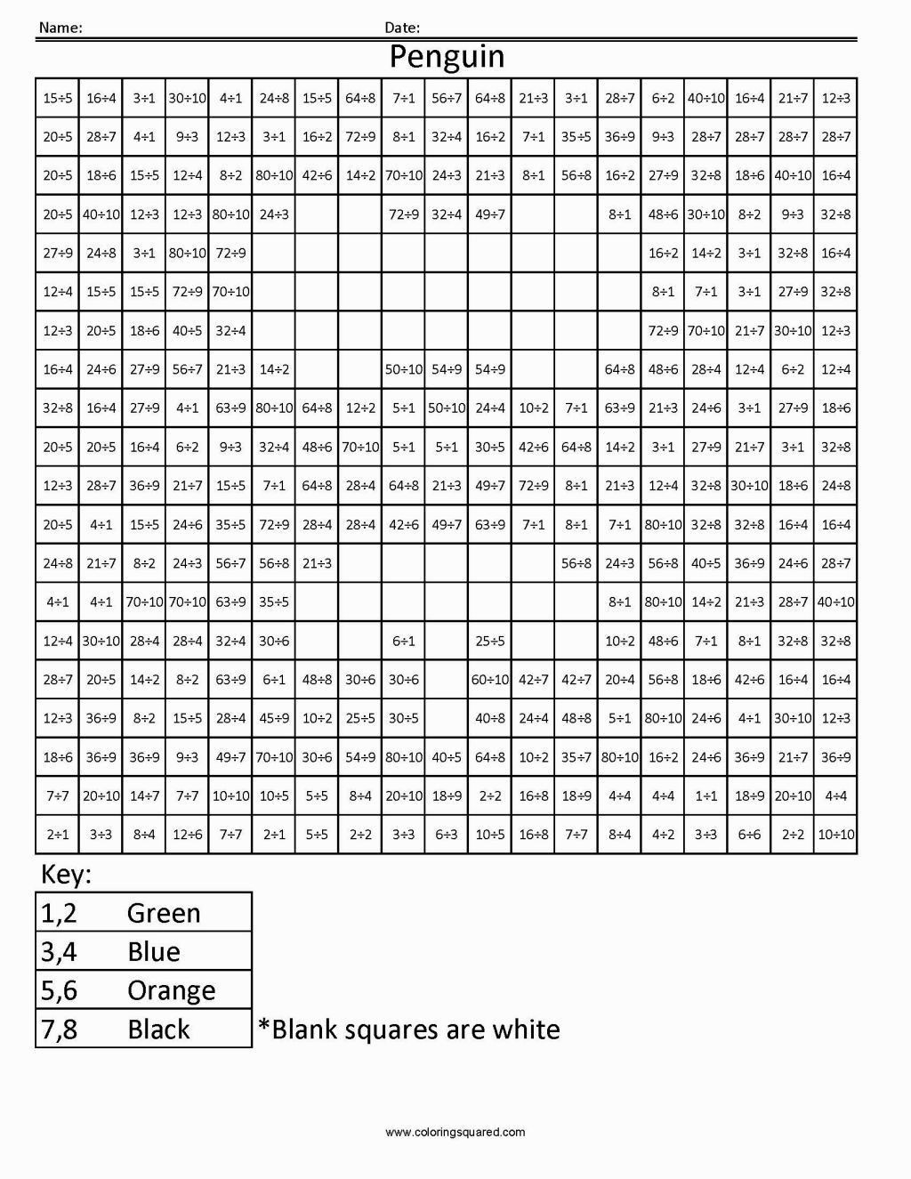 Division Coloring Worksheets In