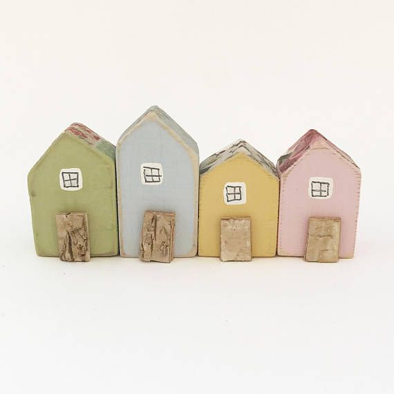 Row Of Tiny Wooden Houses Mini Small Wood Figurines Gift Miniature House