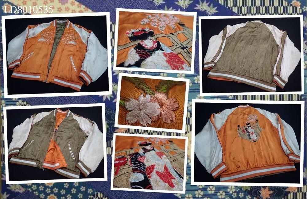 SUKAJAN bomber rayon jacket ( japanese L) FUJI Cherry maiko geisha orange kimono…